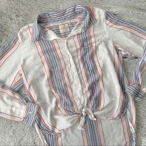 American Eagle Multicolor Striped Button Down